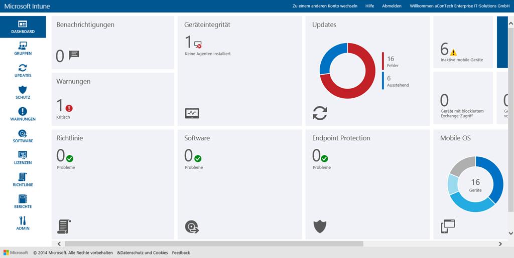 Neues Verwaltungsdashboard und Administratorübersicht in Microsoft Intune
