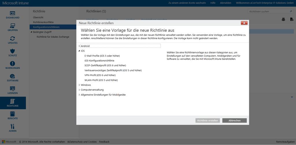 Eine Vielzahl neuer Richtlinien und Management Optionen existieren in der neuen Microsoft Intune Verwaltungskonsole.