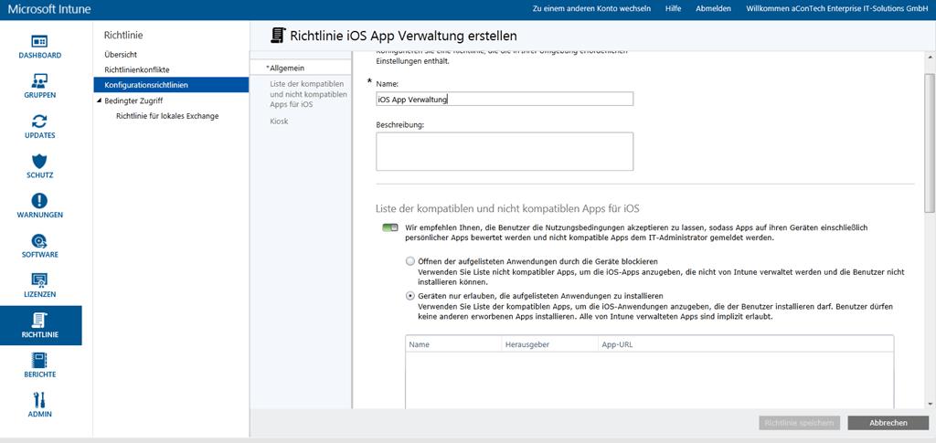 Beispielkonfiguration- und richtlinie für iOS Client Management mit Microsoft Intune