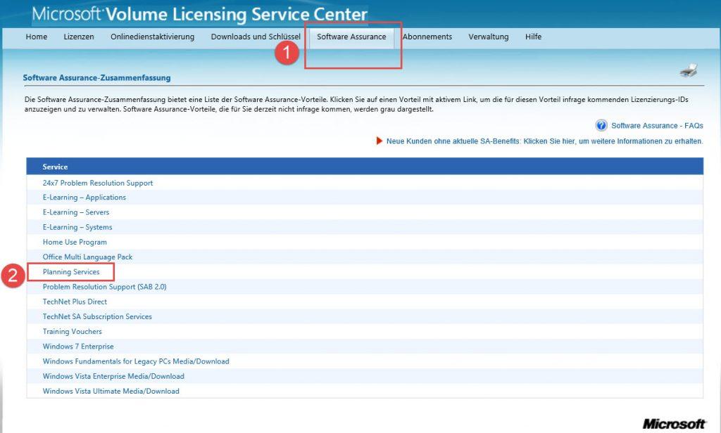 Software Assurance Planning Services aktivieren im VLSC.