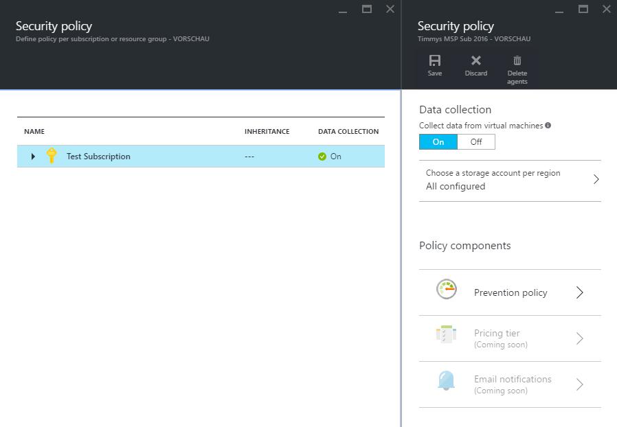Subscription Auswahl bei dem Security Center - Azure Security Center