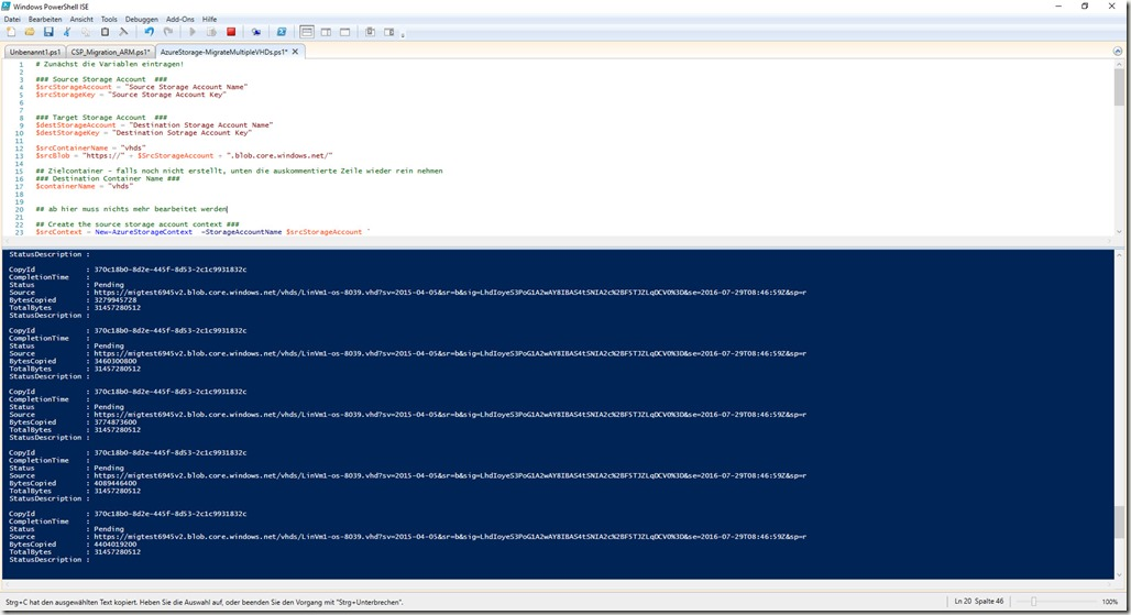 2 vhds kopieren (pro Storage Account)