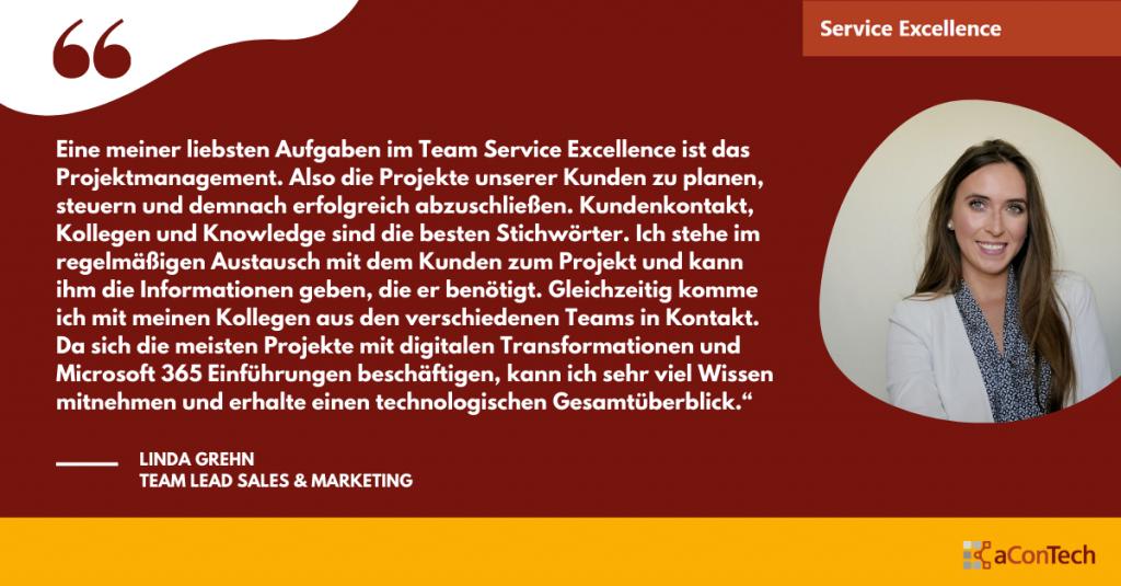 Linda Grehns Lieblingsaufgabe im Team Service Excellence
