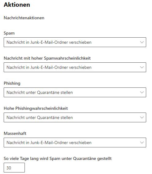 Defender for Office - Antispam Richtilinien